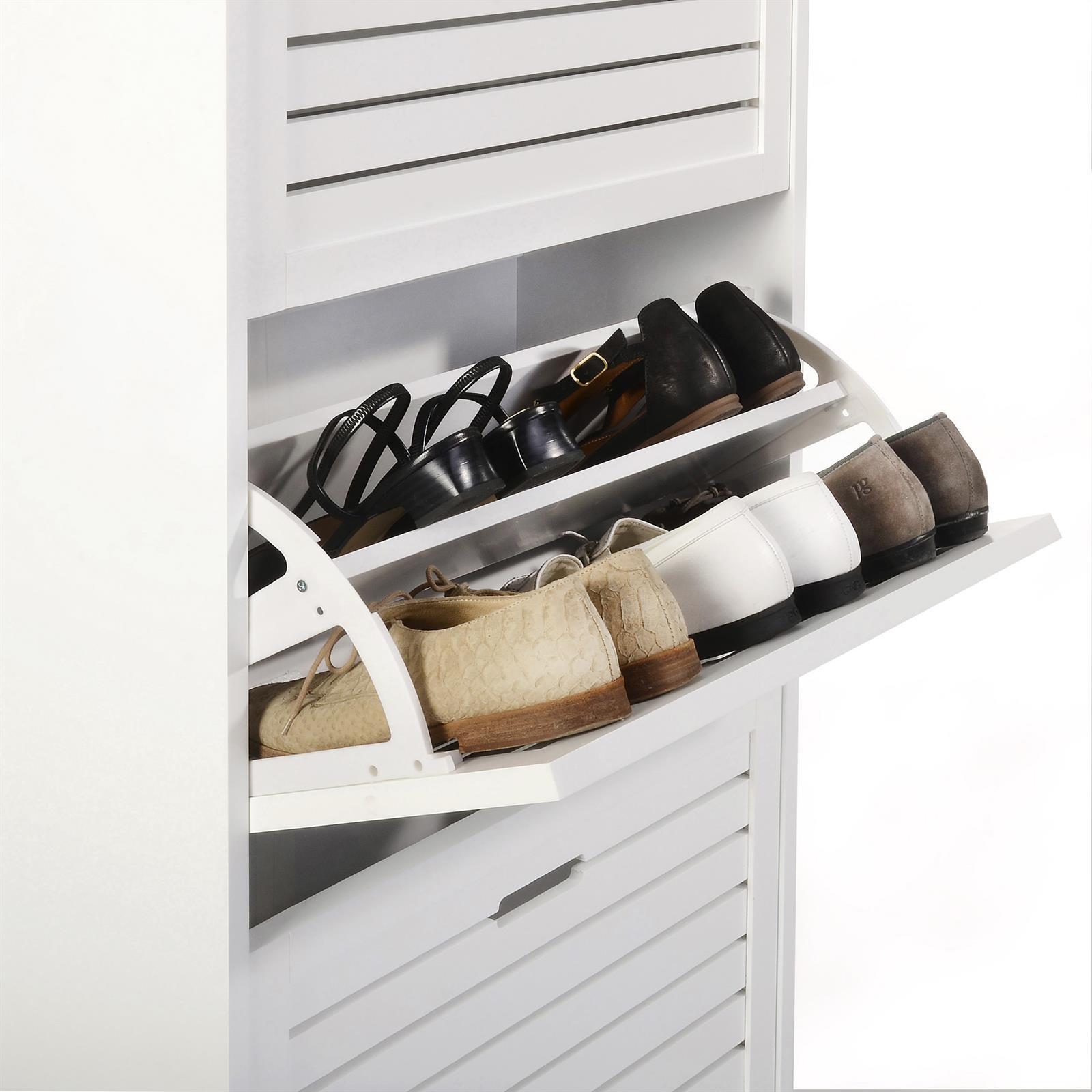 schuhkipper adria in wei mit 3 klappen mobilia24. Black Bedroom Furniture Sets. Home Design Ideas