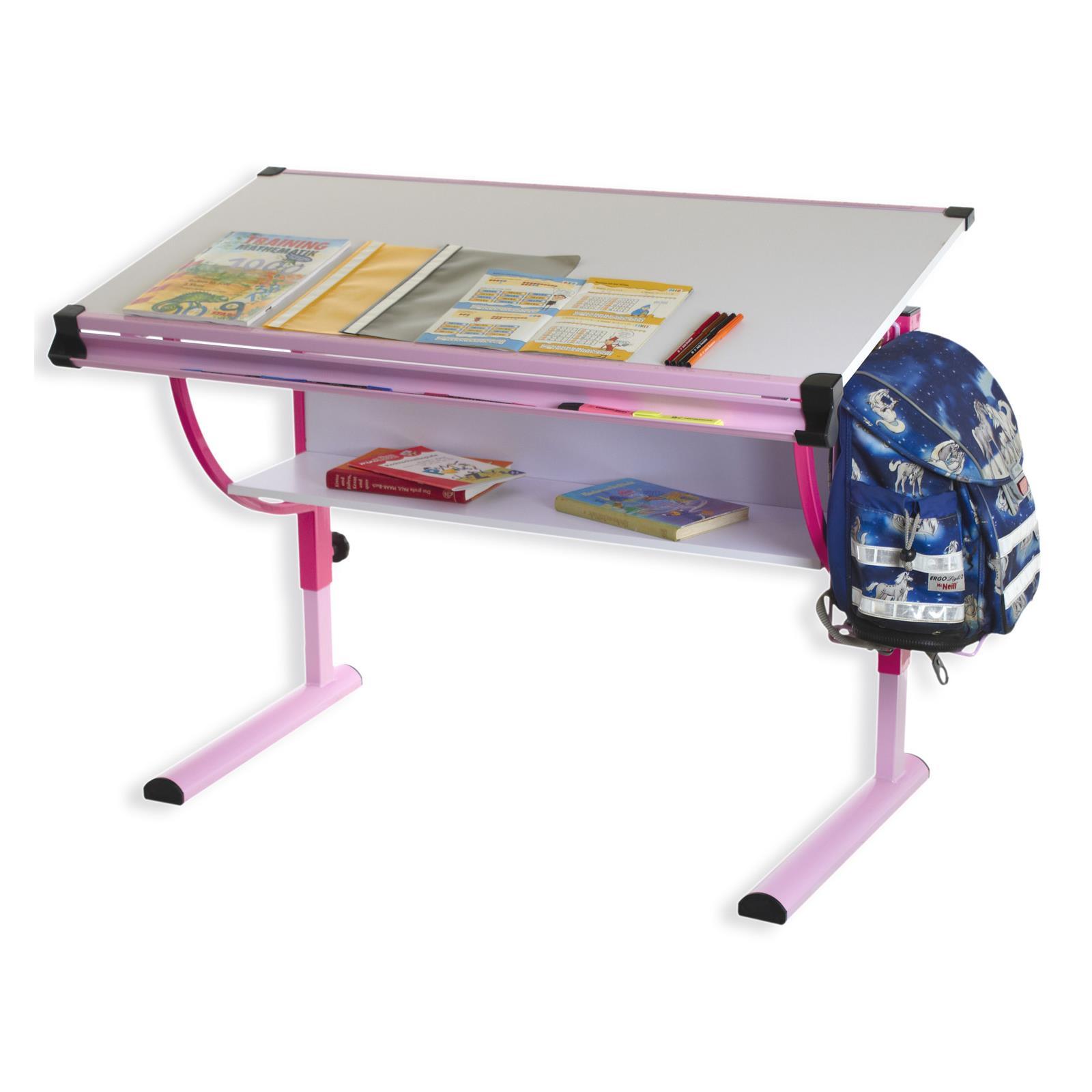 bureau enfant carina r glable en hauteur et plateau inclinable rose mobilia24. Black Bedroom Furniture Sets. Home Design Ideas