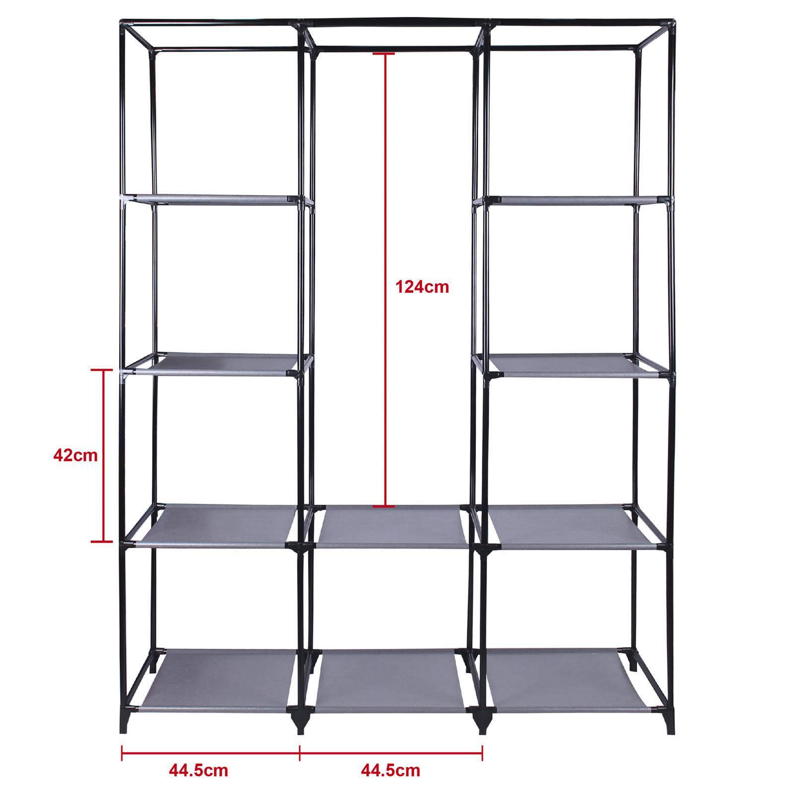 kleiderschrank steven 1 kleiderstange 9 regale mobilia24. Black Bedroom Furniture Sets. Home Design Ideas
