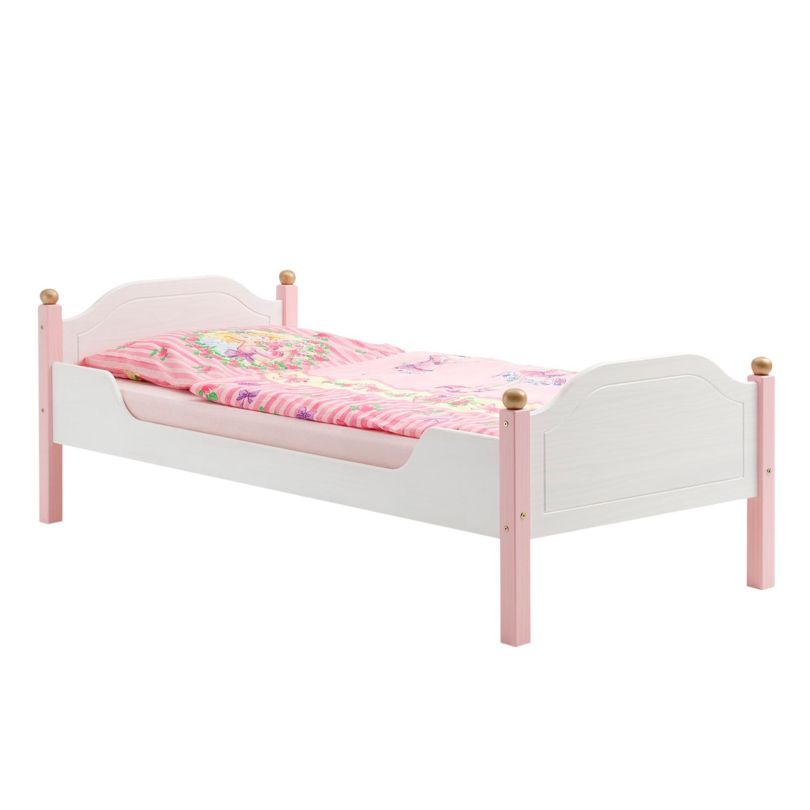 kinderbett isabella kiefer massiv wei rosa mobilia24. Black Bedroom Furniture Sets. Home Design Ideas