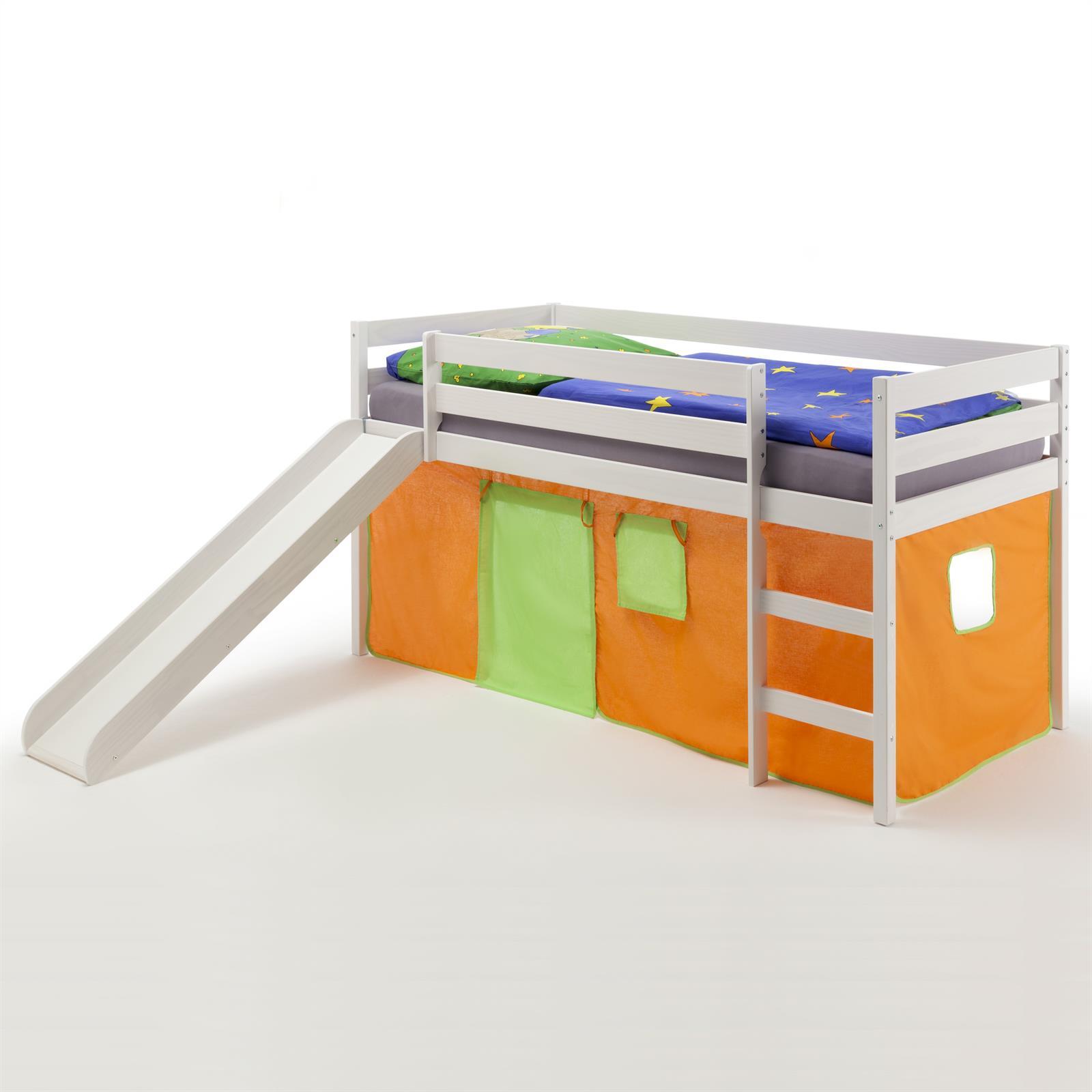 lit sur lev en pin lasur blanc benny avec toboggan et. Black Bedroom Furniture Sets. Home Design Ideas