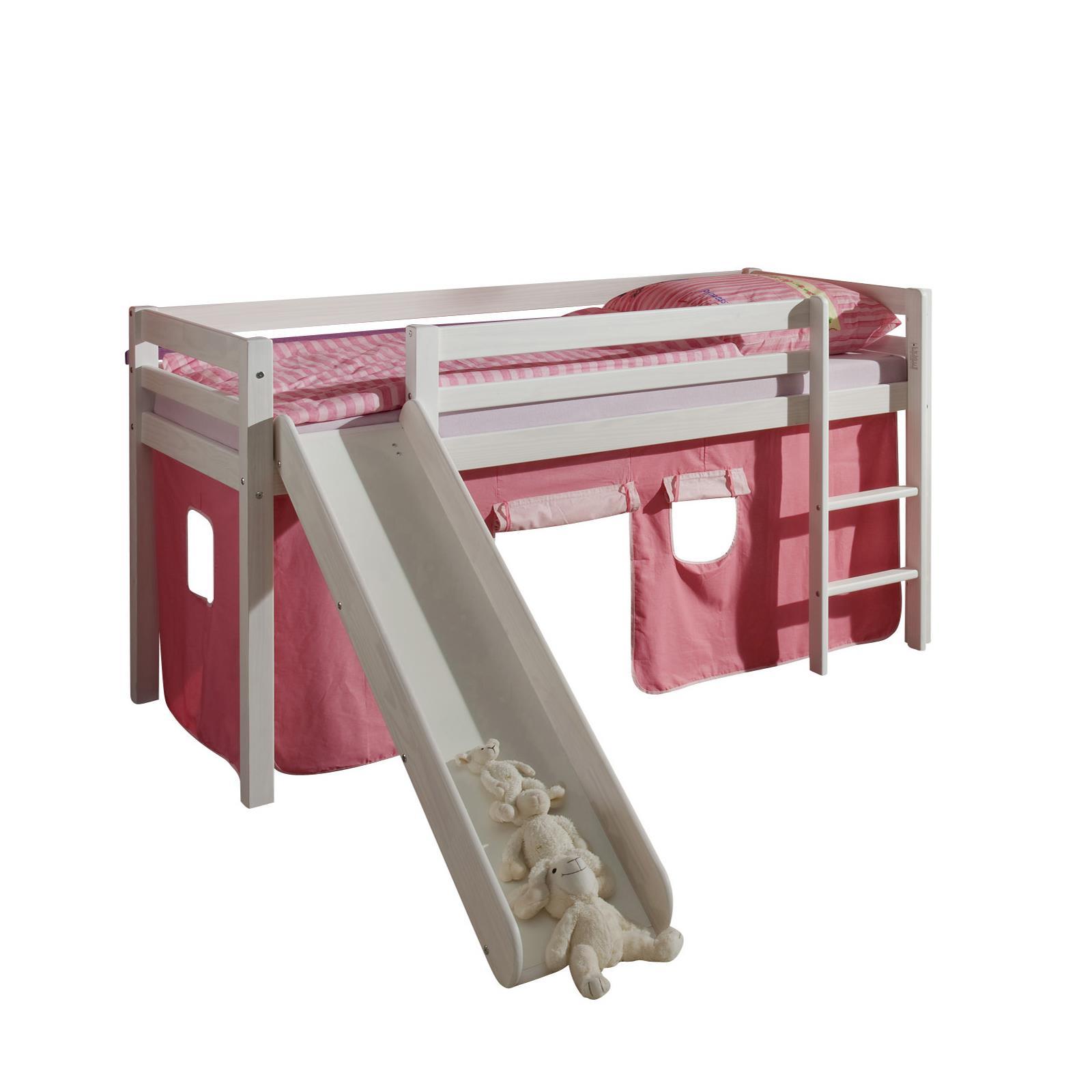 lit sur lev en pin lasur blanc max avec toboggan et rideaux rose mobilia24. Black Bedroom Furniture Sets. Home Design Ideas