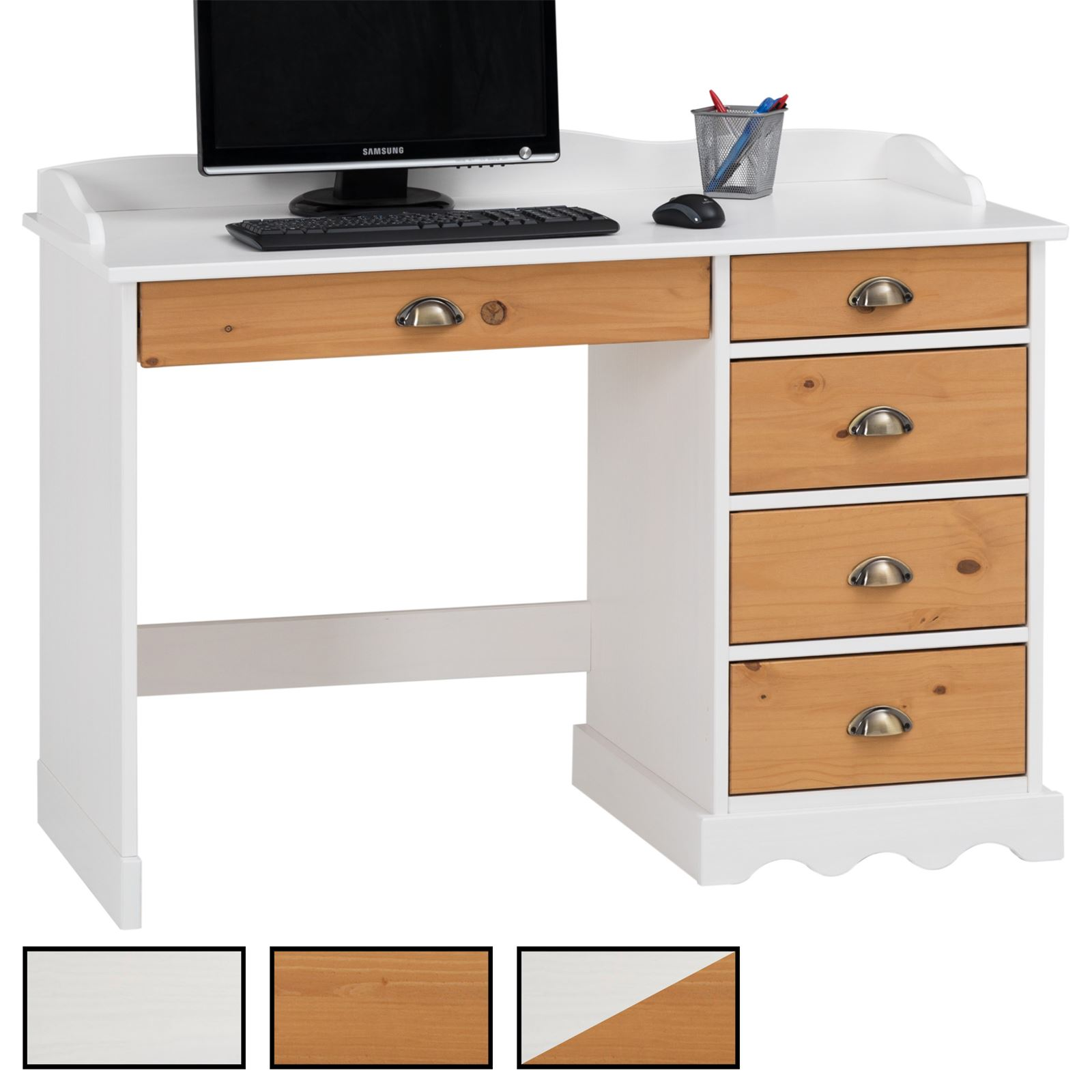 bureau en pin massif colette avec corniche mobilia24. Black Bedroom Furniture Sets. Home Design Ideas