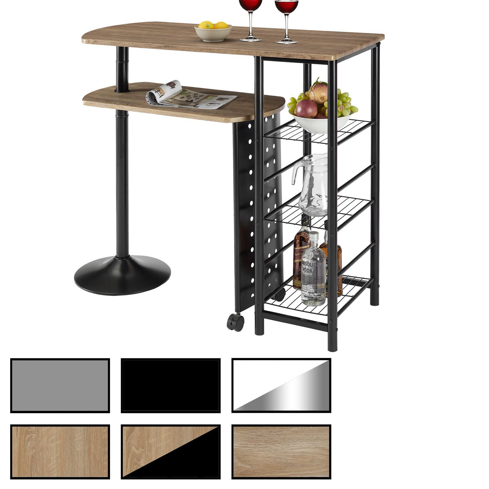bartisch josua mit regal in 2 farben mobilia24. Black Bedroom Furniture Sets. Home Design Ideas