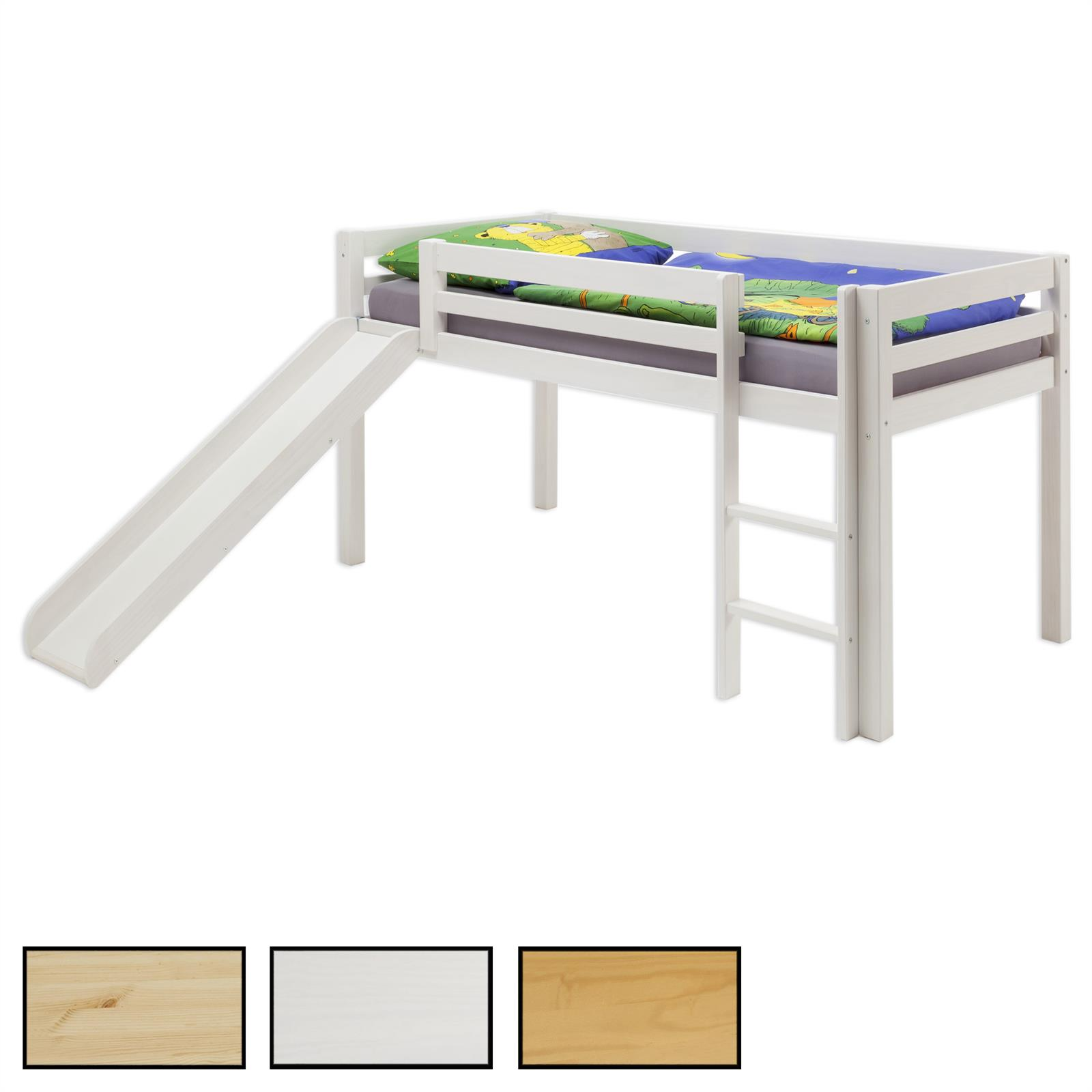 hochbett mit rutsche max in 3 farben mobilia24. Black Bedroom Furniture Sets. Home Design Ideas