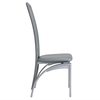 Lot de 4 chaises MONICA, en synthétique gris