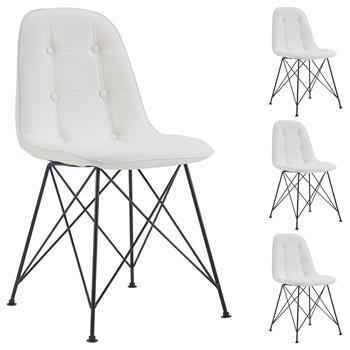 Esszimmerstuhl IMRAN im 4er Set mit Kunstlederbezug in weiß