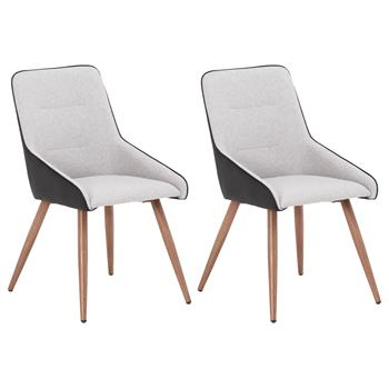 Lot de 2 chaises LUGO, en tissu gris