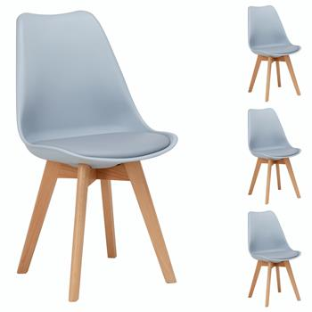 Lot de 4 chaises scandinaves ABBY, en synthétique gris