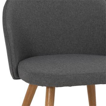 Lot de 4 chaises SUAVE, en tissu gris foncé