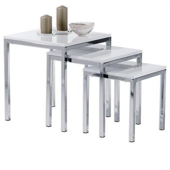 Lot de 3 tables gigognes LUNA, en métal chromé et décor blanc brillant