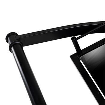 Chariot de service EVO, en métal noir et plateaux en verre trempé noir
