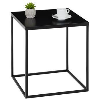 Table d'appoint carré HILAR, cadre et plateau en métal laqué noir