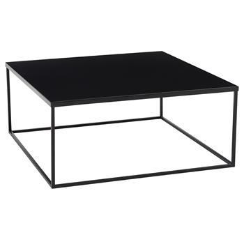 Table basse carré HILAR, en métal laqué noir
