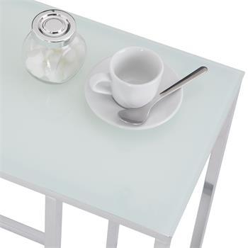Table d'appoint rectangulaire BELGRAD, en métal chromé et plateau en verre transparent