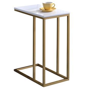Table d'appoint rectangulaire DEBORA, en métal doré et MDF décor blanc