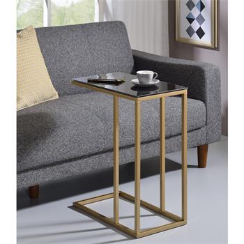 Table d'appoint rectangulaire BELGRAD, en métal doré et plateau en verre trempé noir