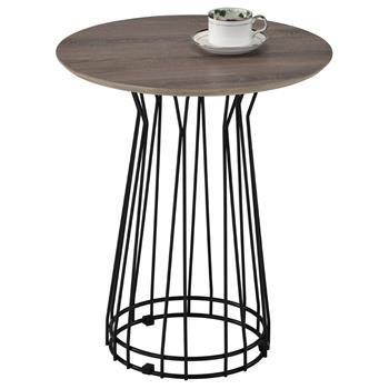 Table d'appoint IVETTE, en métal noir et décor chêne sonoma