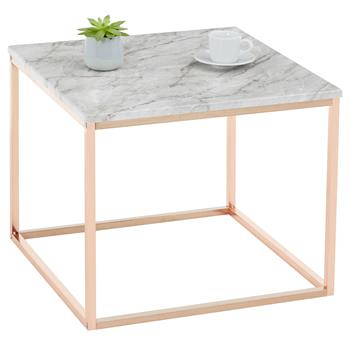 Table d'appoint carré ROMI, en métal rose gold