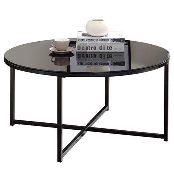 Table basse ronde NOELIA, en métal noir et plateau en verre noir