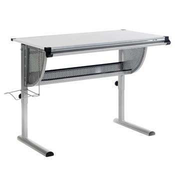 Bureau enfant MADS, réglable en hauteur et plateau inclinable, blanc mat