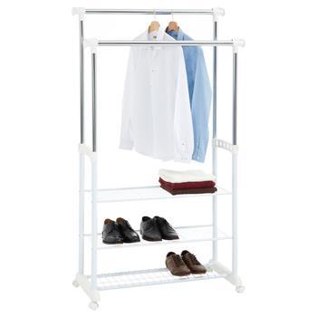 Portant à vêtements OLGA, en métal chromé et blanc