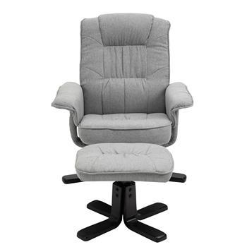 Relaxsessel mit Hocker CHARLY mit Stoffbezug in grau Fußgestelll schwarz