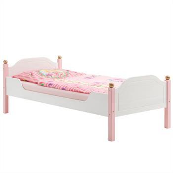 Lit pour enfant ISABELLA, 90 x 200 cm, en pin massif, lasuré blanc et rose
