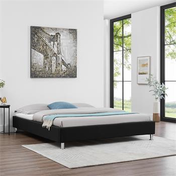 Futonbett NIZZA 160 x 200 cm Stoffbezug in schwarz