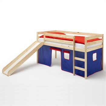 Spielbett BENNY, mit Vorhang in blau/rot
