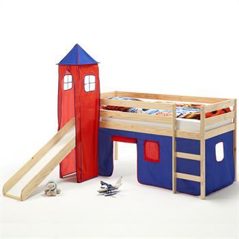 Spielbett BENNY mit Turm+Vorhang blau/rot