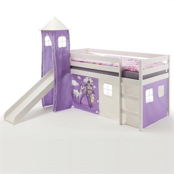 Lit surélevé BENNY en pin lasuré blanc, avec toboggan, donjon et rideaux, motif Princesse violet