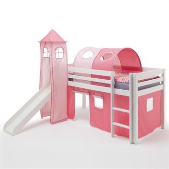 Rutschbett MAX weiß mit Vorhang,Turm und Tunnel pink-rosa