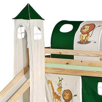 Donjon pour lit surélevé avec toboggan, motif Savane