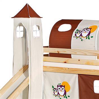 Turm EULE zu Bett mit Rutsche, braun/beige