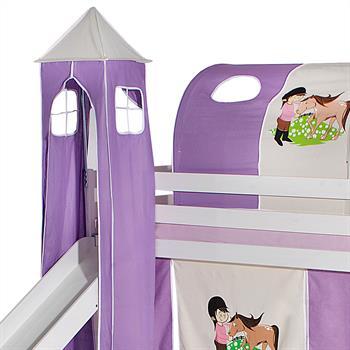 Turm PONY zu Bett mit Rutsche, lila/beige