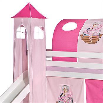 Turm BALLERINA zu Bett mit Rutsche, rosa/pink
