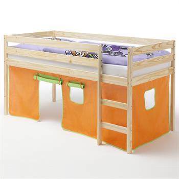 Hochbett ERIK Vorhang orange/grün in natur