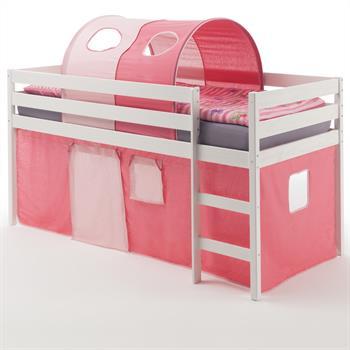 Hochbett ERIK Vorhang & Tunnel pink/rosa