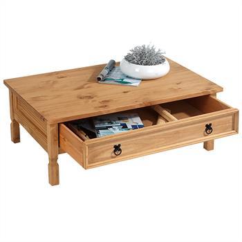 Table basse en pin TEQUILA style mexicain, 1 tiroir, finition teintée/cirée