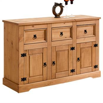 Buffet en pin TEQUILA, 3 tiroirs et 3 portes, finition cirée