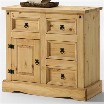 Commode en pin TEQUILA, 4 tiroirs  et 1 porte en pin massif finition teintée/cirée