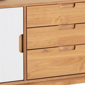 Buffet TIVOLI, 3 tiroirs et 2 portes, finition bois teinté et lasuré blanc