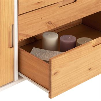 Buffet TIVOLI, 3 tiroirs et 2 portes, lasuré blanc et finition bois teinté