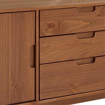 Anrichte TIVOLI 2 Türen 3 Schubladen skandinavisches Design, Kastanienfarben