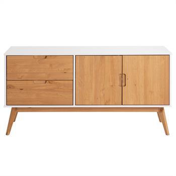 Buffet TIVOLI, 2 tiroirs et 2 portes, lasuré blanc et finition bois teinté