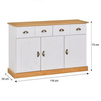Anrichte PARIS 2 Schubladen 3 Türen, weiß/braun
