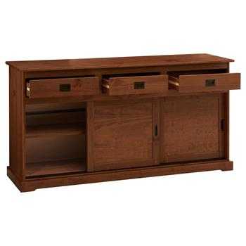 Buffet SAVONA en pin massif, 3 tiroirs et 3 portes, lasuré brun foncé