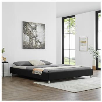 Futonbett NIZZA 180 x 200 cm Stoffbezug in schwarz