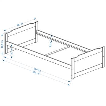 Einzelbett FRITZ 90x200 cm weiß lackiert